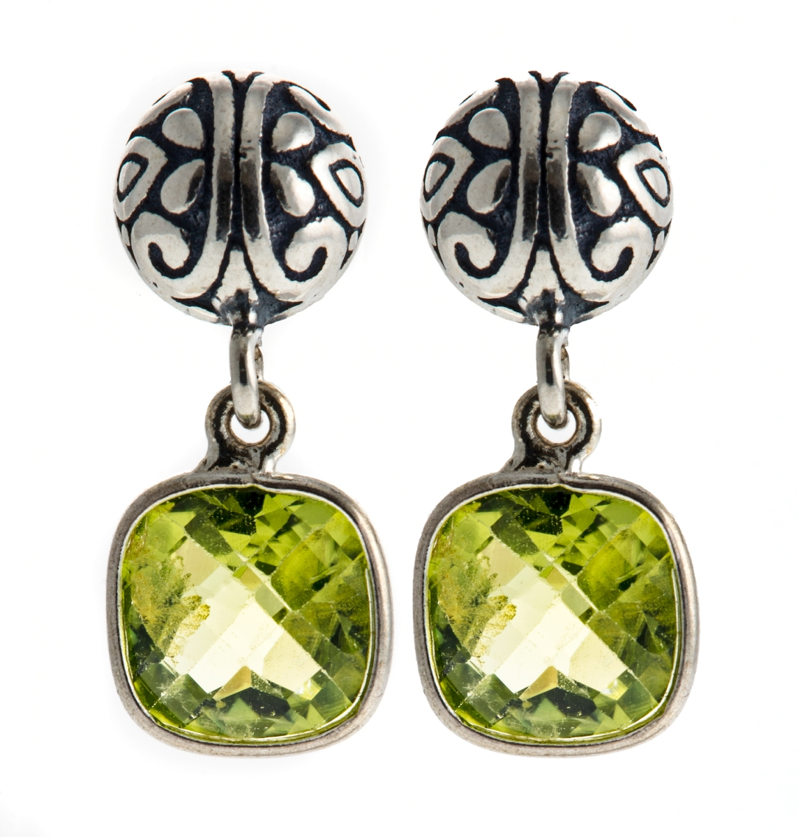 Cushion Cut Peridot Dangle Earrings